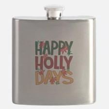 Happy Holly Days Flask
