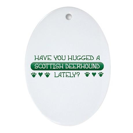Hugged Deerhound Oval Ornament