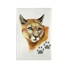 Watercolor Mountain Lion, Puma, Footprints Magnets
