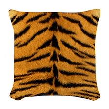 Tiger Fur Print Woven Throw Pillow