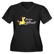 Believe in Y Women's Plus Size V-Neck Dark T-Shirt
