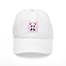 Panda Bear on Pink Polka Dots Baseball Baseball Cap