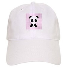 Panda Bear on Pink Polka Dots Baseball Cap