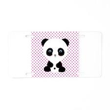 Panda Bear on Pink Polka Dots Aluminum License Pla