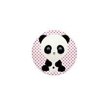 Panda Bear on Pink Polka Dots Mini Button