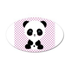 Panda Bear on Pink Polka Dots Wall Decal
