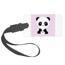 Panda Bear on Pink Polka Dots Luggage Tag