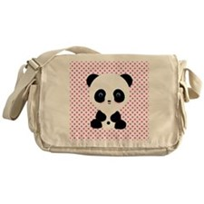 Panda Bear on Pink Polka Dots Messenger Bag