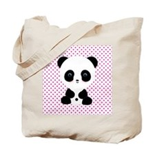 Panda Bear on Pink Polka Dots Tote Bag