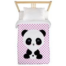 Panda Bear on Pink Polka Dots Twin Duvet