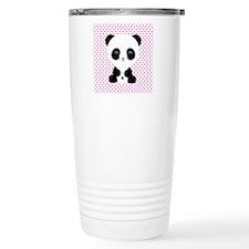 Panda Bear on Pink Polka Dots Travel Mug