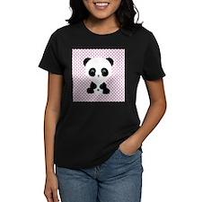 Panda Bear on Pink Polka Dots T-Shirt
