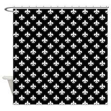 Funny Black and white fleur de lis Shower Curtain