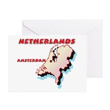 Netherlands Map Greeting Cards (Pk of 10)