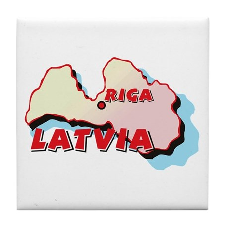 Latvia Map Tile Coaster