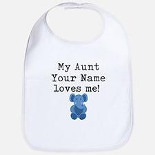My Aunt Loves Me Blue Elephant Bib