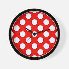 Retro Red Polkadots Wall Clock