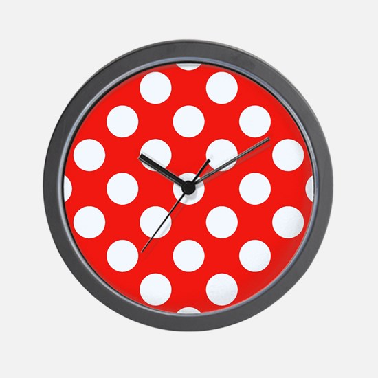 Retro Red Polkadots Wall Clock