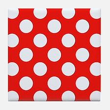 Retro Red Polkadots Tile Coaster