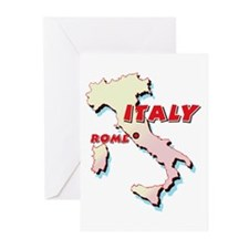 Italy Map Greeting Cards (Pk of 10)