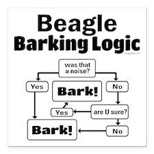 "Beagle Logic Square Car Magnet 3"" x 3"""