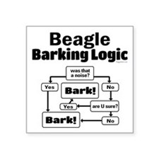 "Beagle Logic Square Sticker 3"" x 3"""