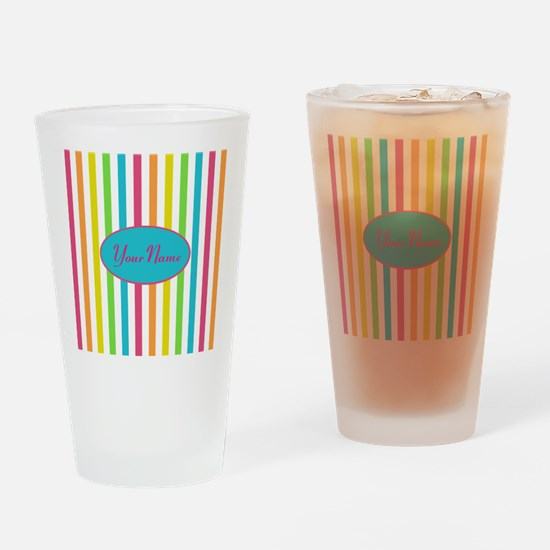 Colorful Multi Stripes Personalized Drinking Glass