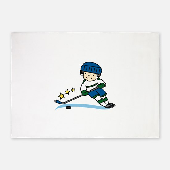 Hockey Boy 5'x7'Area Rug