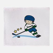 Hockey Boy Throw Blanket