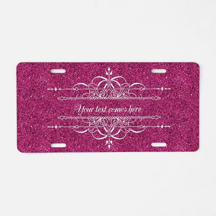 Pink Glitter Aluminum License Plate