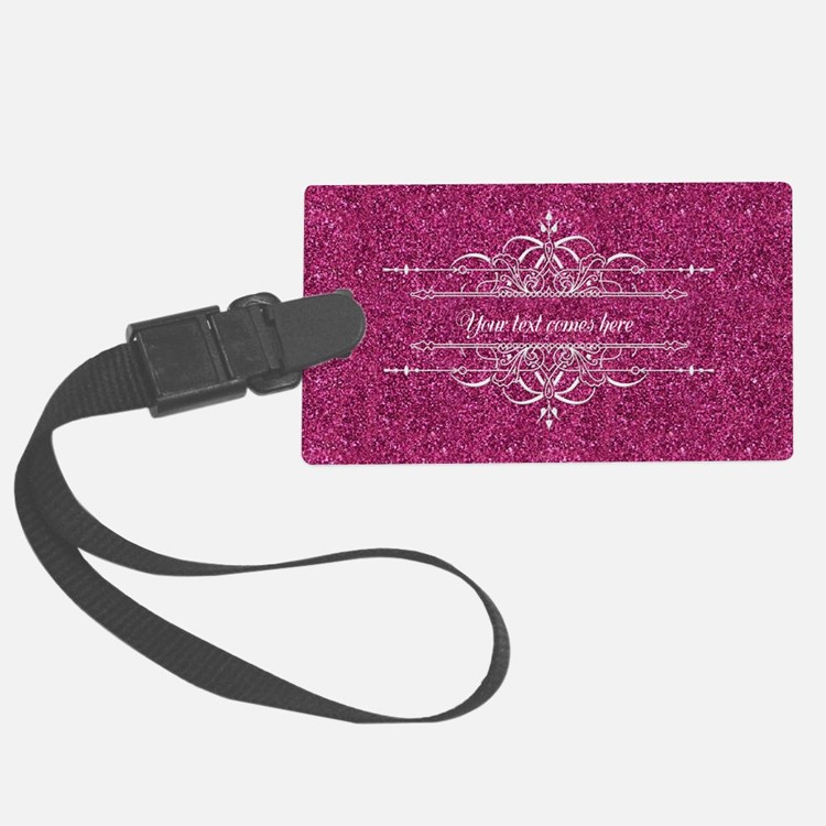 Pink Glitter Luggage Tag