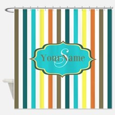 Monogrammed Retro Colorful Stripes Shower Curtain