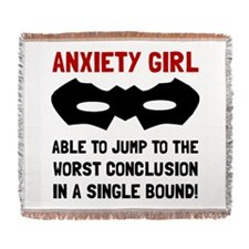 Anxiety Girl Woven Blanket