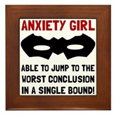 Anxiety Girl Framed Tile