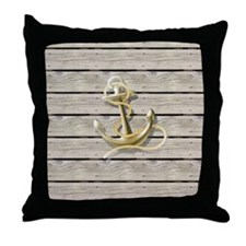 beach wood grain nautical anchor Throw Pillow