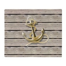 beach wood grain nautical anchor Throw Blanket