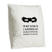 Me And Superhero Burlap Throw Pillow