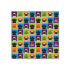 """I Love Pugs Sm Color Square Square Sticker 3"""" x 3"""""""