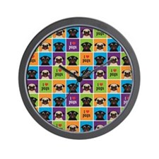 I Love Pugs Sm Color Squares Wall Clock