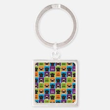 I Love Pugs Sm Color Squares Square Keychain