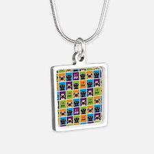 I Love Pugs Sm Color Squar Silver Square Necklace
