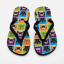 I Love Pugs Sm Color Squares Flip Flops