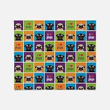 Cute Black pug love Throw Blanket