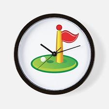 Golf Green Flag Golfing Wall Clock