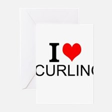 I Love Curling Greeting Cards