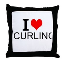 I Love Curling Throw Pillow