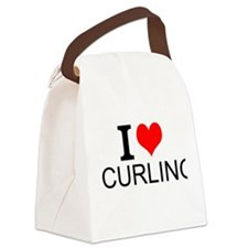 I Love Curling Canvas Lunch Bag