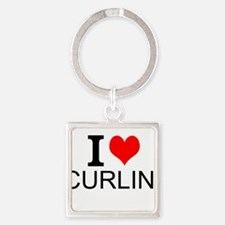 I Love Curling Keychains