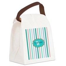 Monogrammed Multicolored Stripes Canvas Lunch Bag