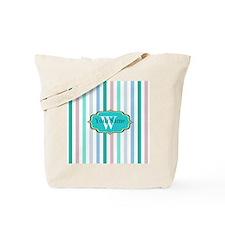 Monogrammed Multicolored Stripes Tote Bag